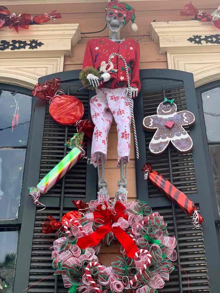 skeleton in New Orleans decorated for Christmas
