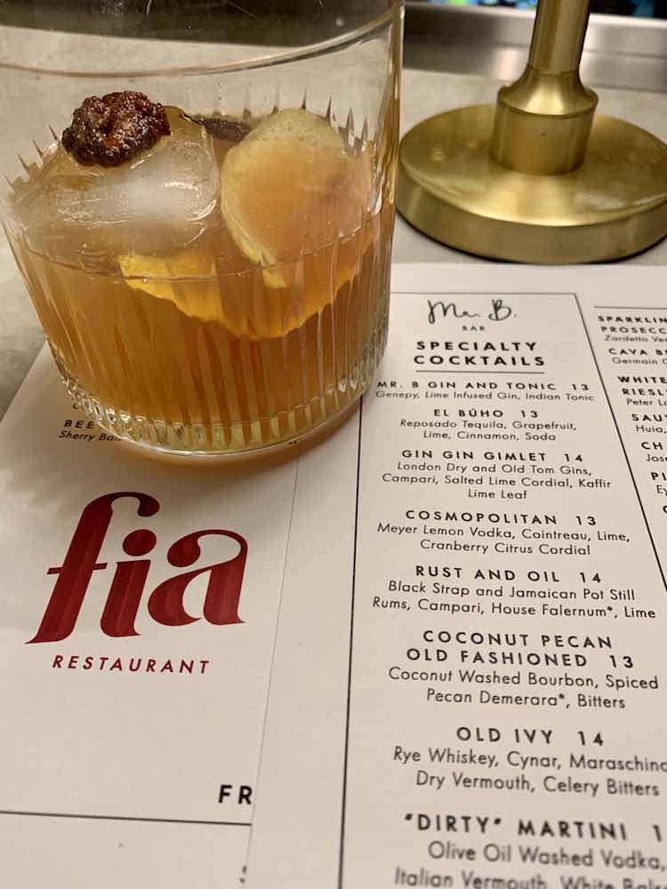 Coconut pecan old fashioned at Mr. B bar in Buckhead, Atlanta GA