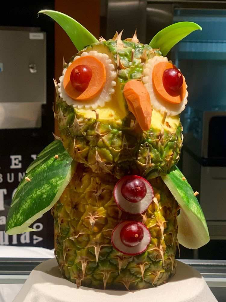 owl carved from fruit at the midnight buffet on Carnival Journeys