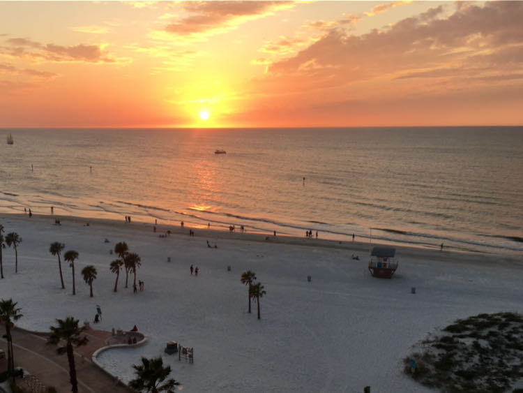 sunset at Wyndham Grand Clearwater Beach