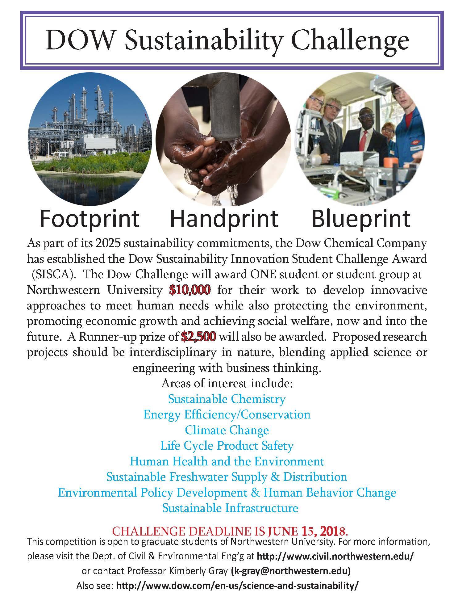 DOW 2018 Sustainability Challenge  News  Civil  Environmental Engineering  Northwestern