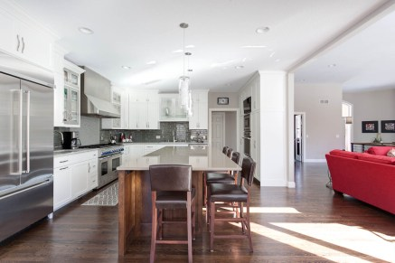 White kitchen with large island for entertaining