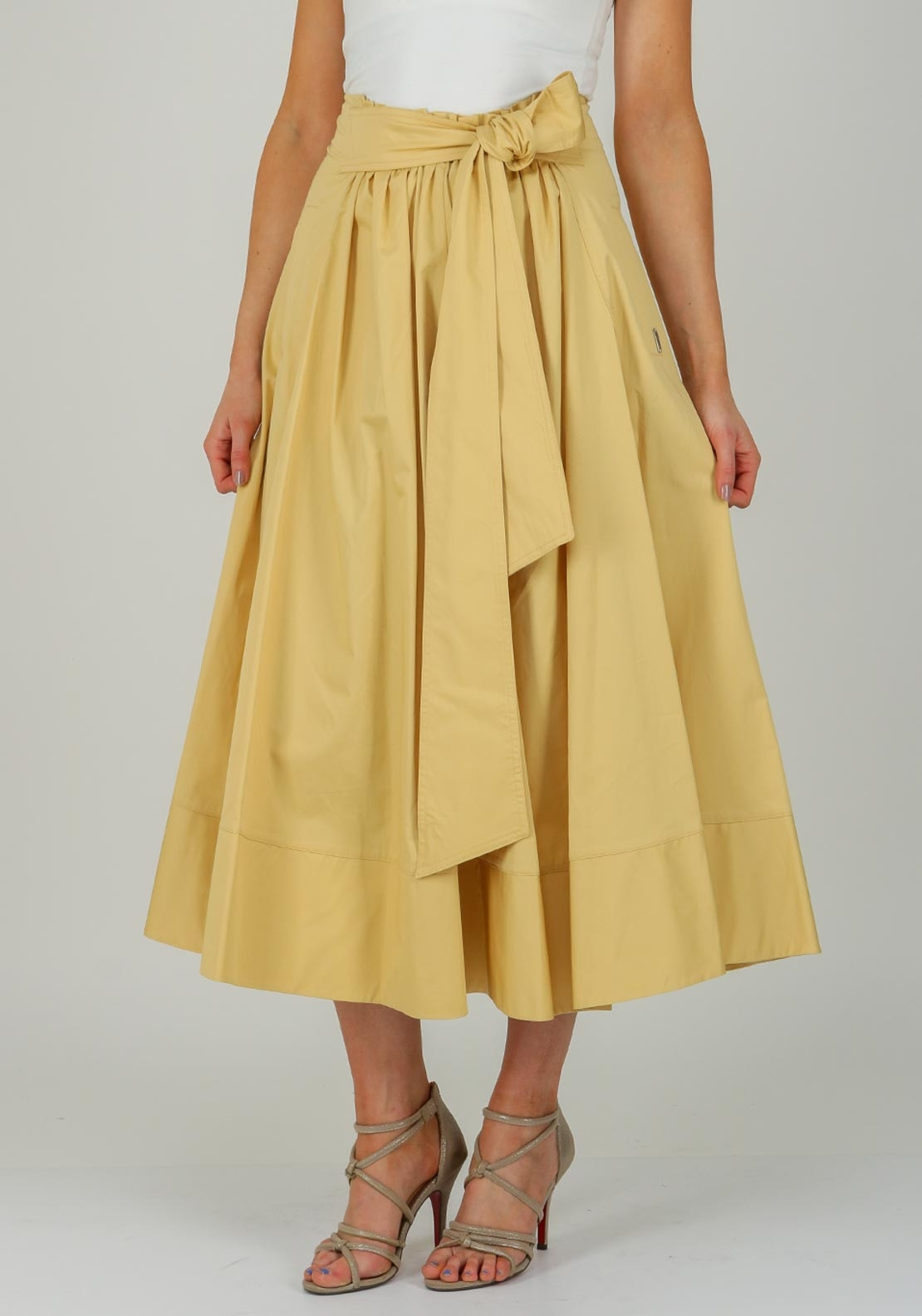 Exquise Flared Cotton Midi Skirt Pale Yellow Mcelhinneys