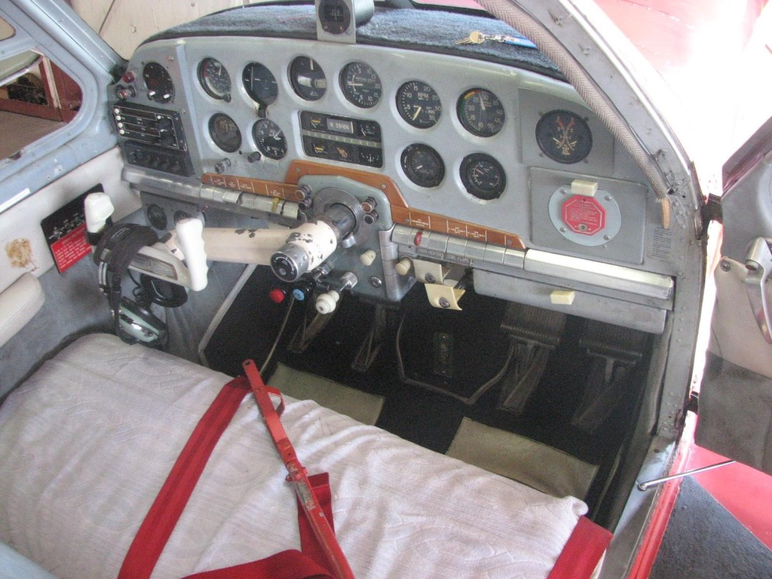 1947 BEECHCRAFT A35 BONANZA intsrument view from wing, door open
