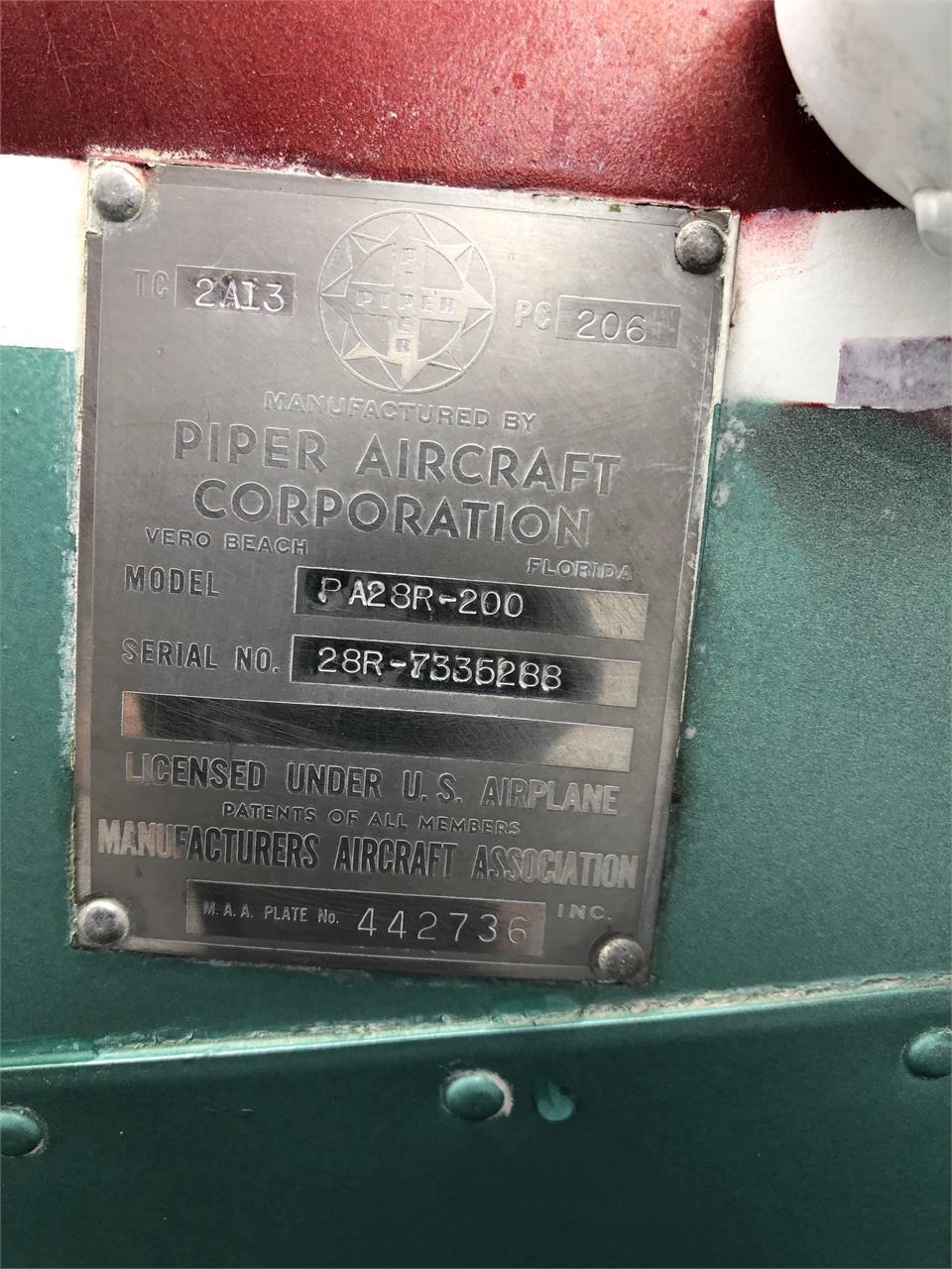 1973 PIPER ARROW II ID Plate