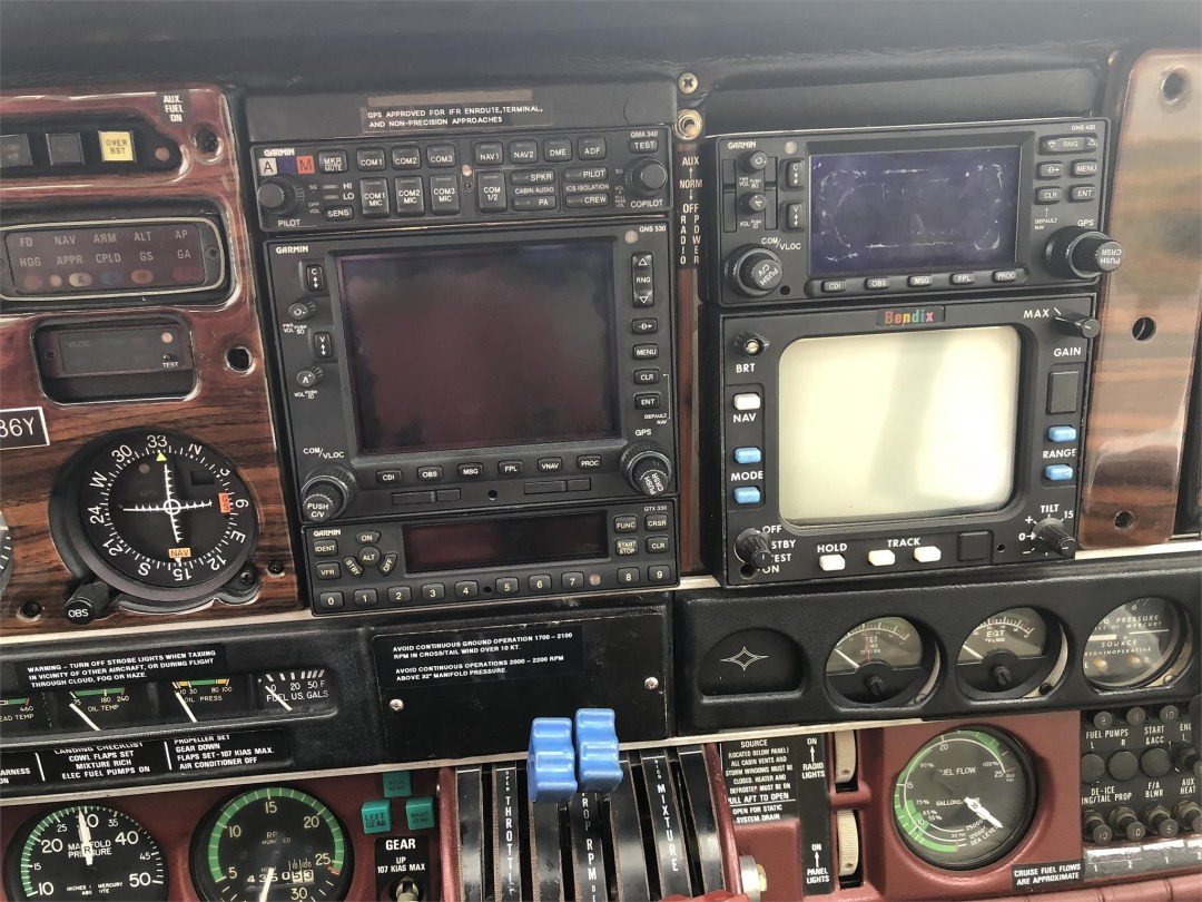 1979 PIPER SENECA II instruments, radios and weather avionics