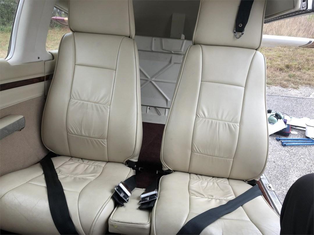 1979 PIPER SENECA II rear seating facing forward cream leather