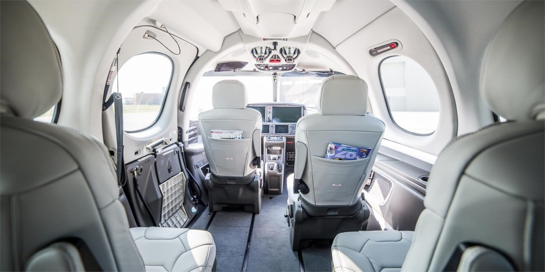 Cirrus Vision Jet SF50 lunar grey interior from rear cabin