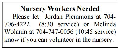 nursery workers needed