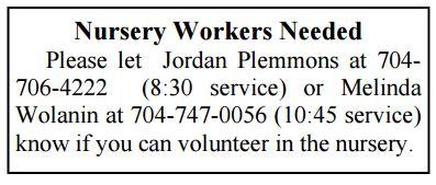 nursery workers needed