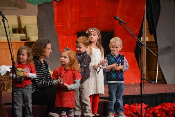 "Some of the McGill children during the production of ""Christmas in a Barn"""