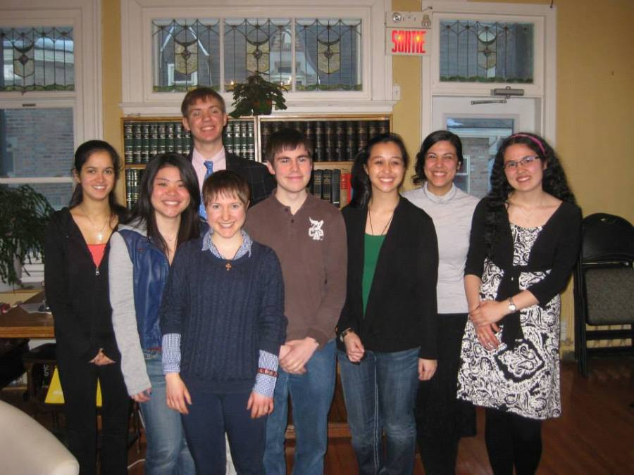 The Executive Committee of the Newman Catholic Students' Society for the 2014-15 academic year. Pictured from left to right: Sarah Crabtree, Jody Wong, Max Johnson, Katie Hayman, Michael Kourlas, Angie Empleo, Ana de Souza, and Rebecca Nishimura.