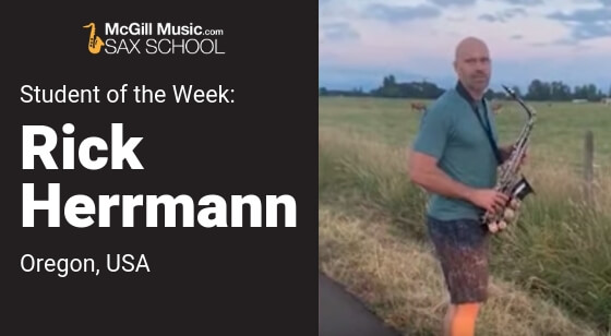 Rick Herrmann plays saxophone for the Cows!