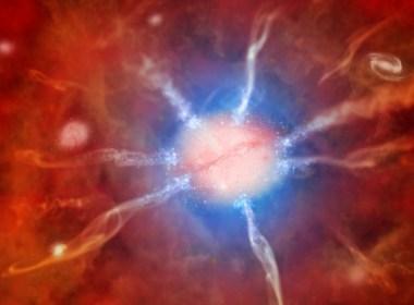 An artist's rendition of the Phoenix Cluster—a recent black hole revelation. (www.space.com)