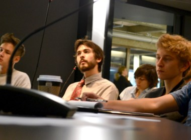 RGCS member Isaac Stethem listens to Waldron's lecture. (Cassandra Rogers / McGill Tribune)
