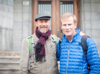 Kenny Broad and Conrad Anker during their visit to McGill. (Simon Poitrimolt / McGill Tribune)