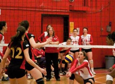 Marie-Christine Lapointe volleys it up. (Anna Katycheva / McGill Tribune)