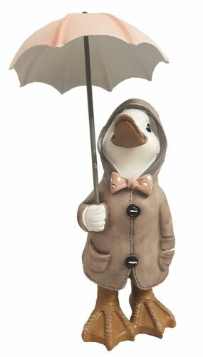 Fountasia Quackers Duck with Lamp Post Resin Garden Ornament Decoration Gift