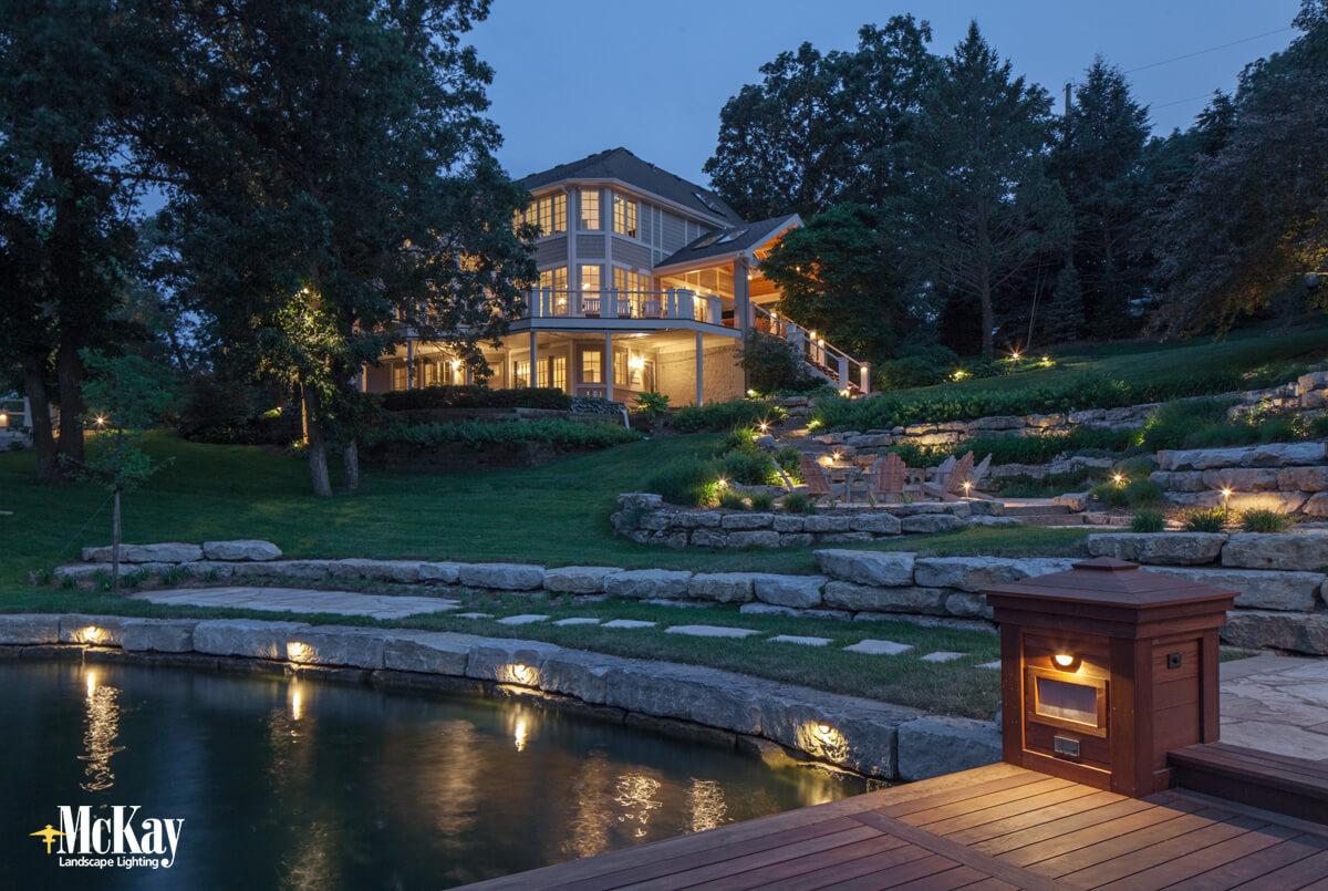 lake home lighting mckay landscape