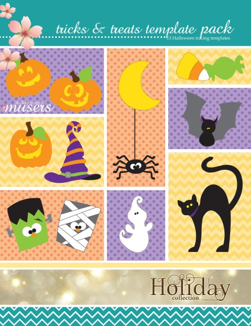 The front cover of the Tricks and Treats Template Pack