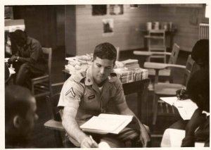 Terry Rorison teaching draftees how to read in the army