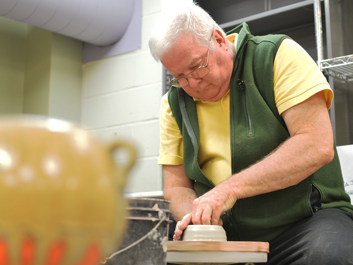 terry rorison on the potter's wheel.