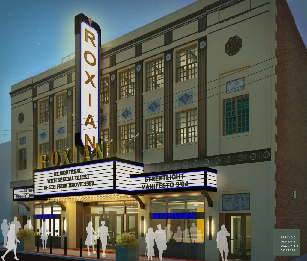 Architectural rendering of refurbished Roxian Theatre
