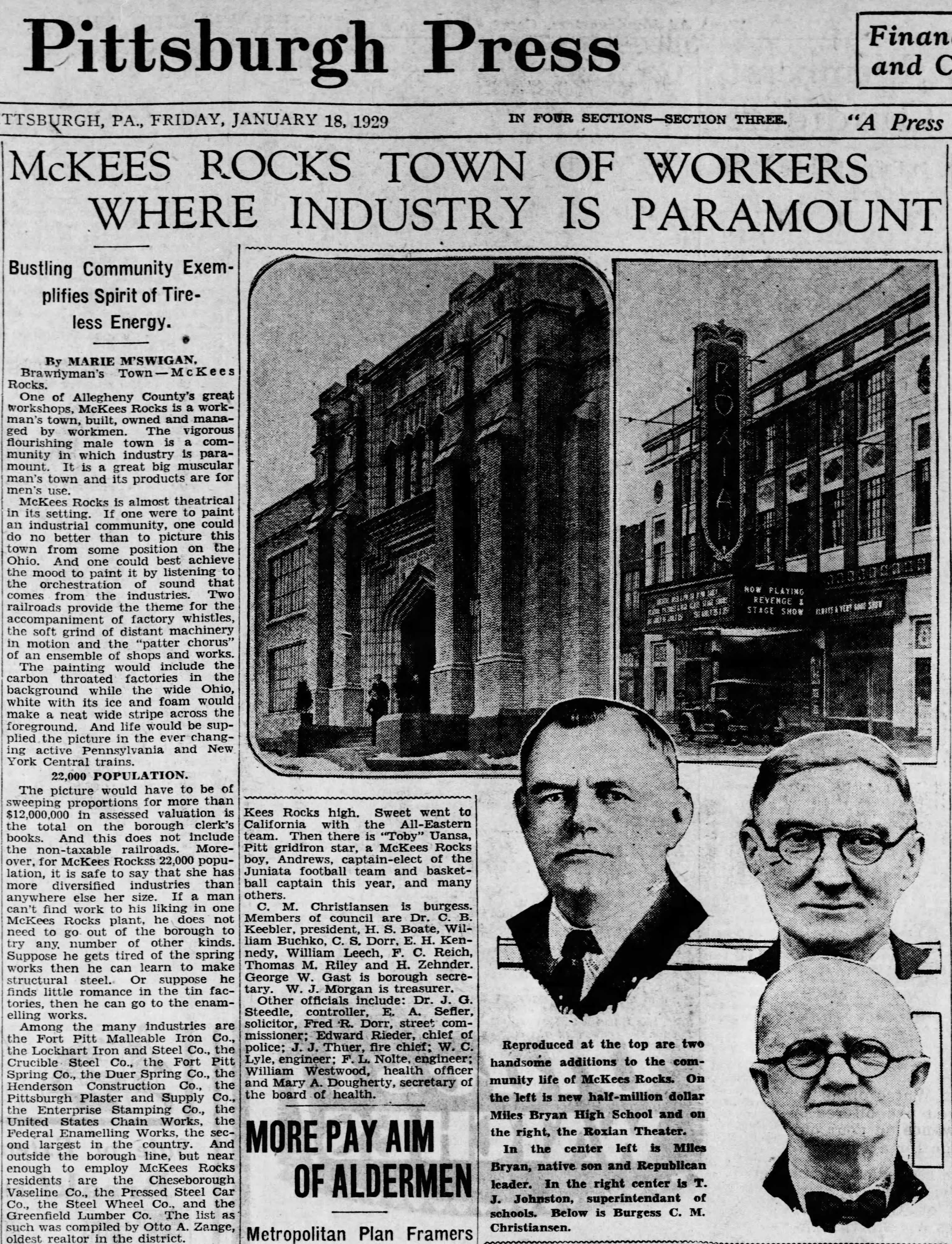 1929 newspaper clipping featuring The Roxian.