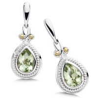 Sterling Silver, 18K Gold and Green Amethyst Earrings ...