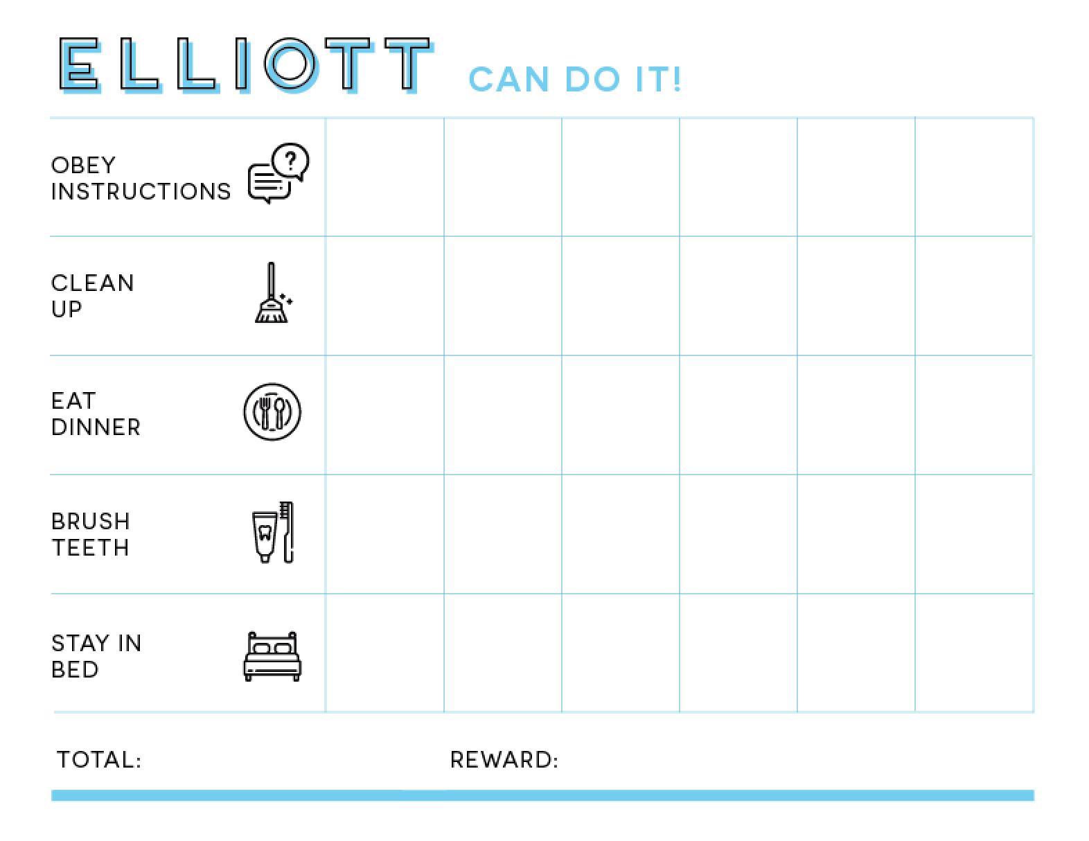 Custom Sticker Chore Chart Printable