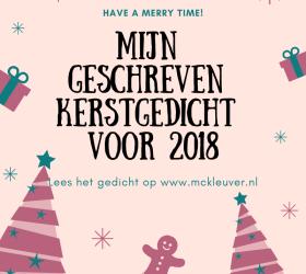 Mijn geschreven kerstgedicht voor 2018