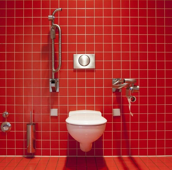 toilet red tiles wallpaper