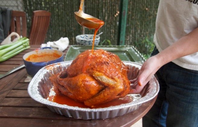 basting a turkey