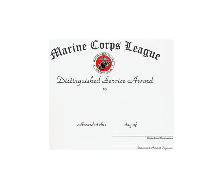 Certificate Department Distinguished Service Award