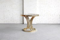 SOLD Mid century modern Hollywood regency round brass and ...