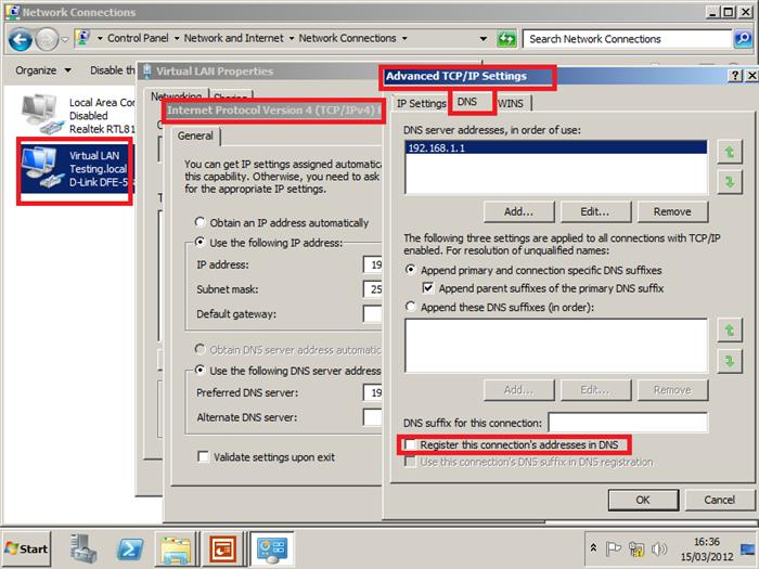 Change network card to not register with DNS