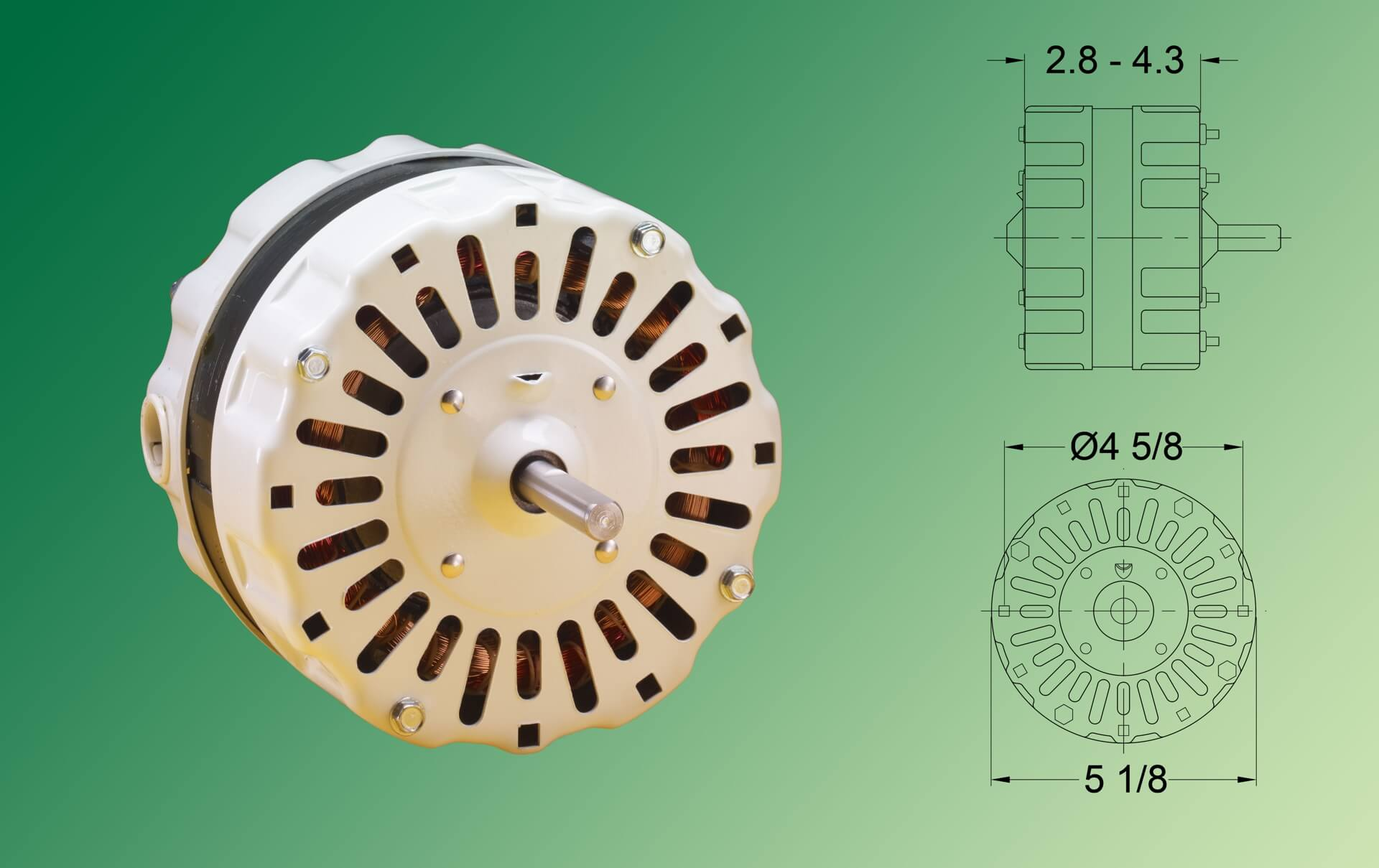 hight resolution of four pole psc motors