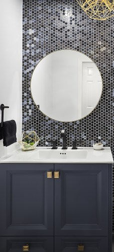 Top of Vanity and details against the stunning undulating Feature Wall Tile in shades of blues, black and grey