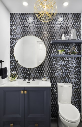 Dynamic Powder Room designed and renovated by McNeil Design Group Interiors