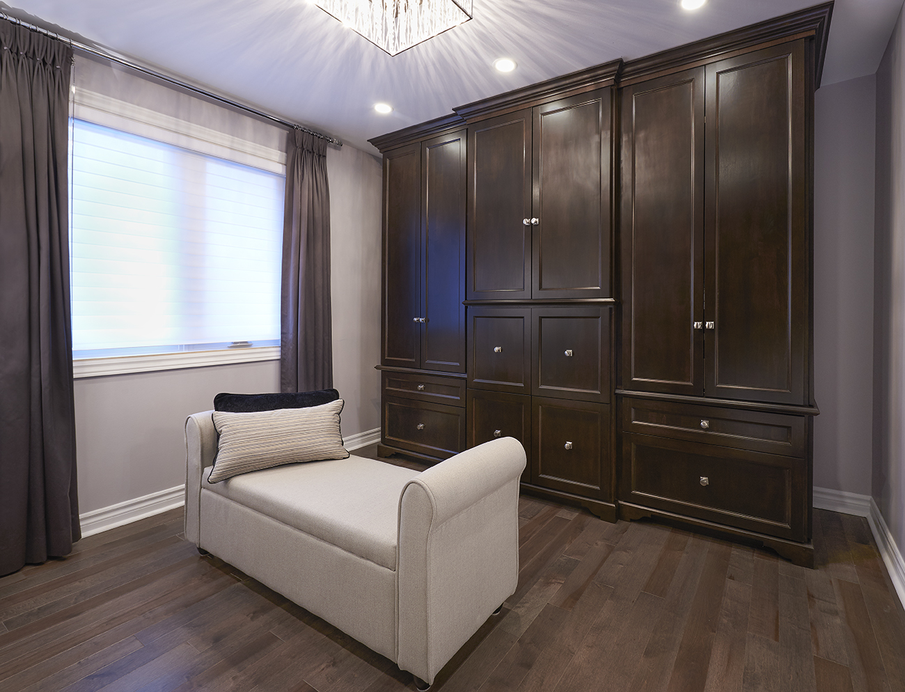 Walk-in Closet with Built-in Cabinetry Armoire