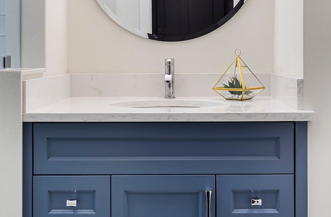 This compact high functioning Bathroom with classic details houses a custom  solid wood Vanity paint finished in a muted Blue-Grey, Stone & White Tile  ...