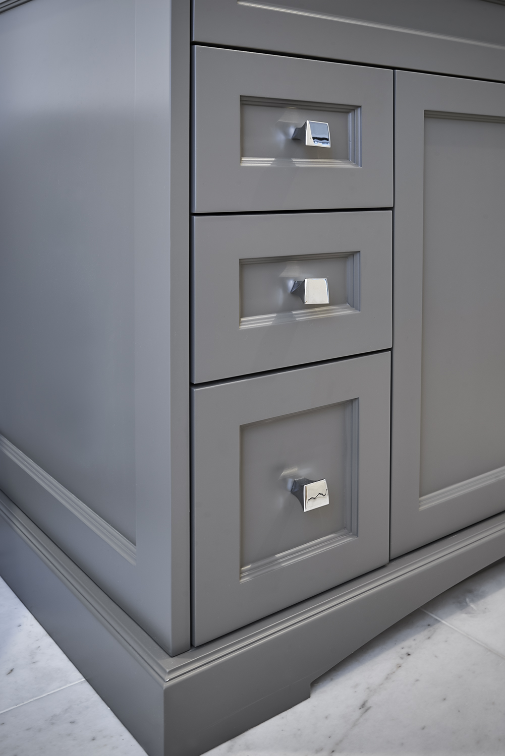 Custom Grey Vanity with chrome hardware detail shot