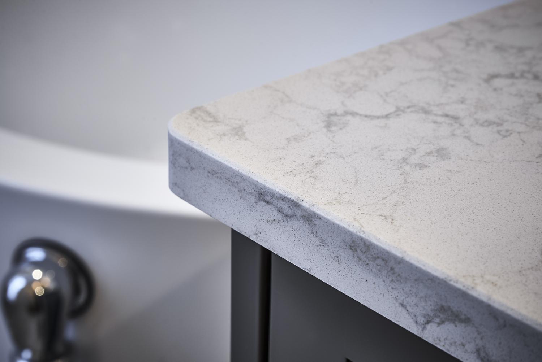 Pretty Grey & White Master Bathroom quartz counter top detail shot