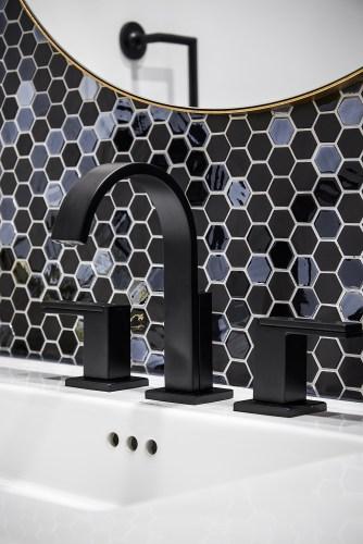 Contemporary Matte Black Faucet set, China Sink and Feature Backsplash Tile