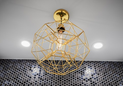 Gold Wire Light Fixture and LED Filament Bulb
