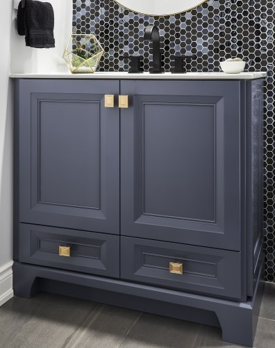 Maxing Powder Room Storage with this 2 Door, 2 Drawer Vanity, custom kick detail and Champagne Gold Hardware