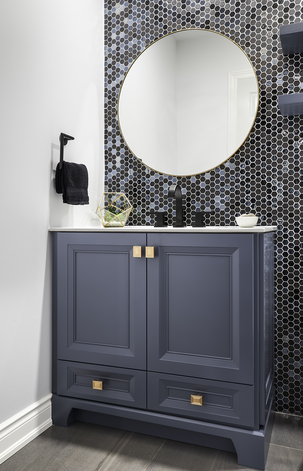 Huge transformation of a 90's Powder Room into a contemporary Jewel Box!