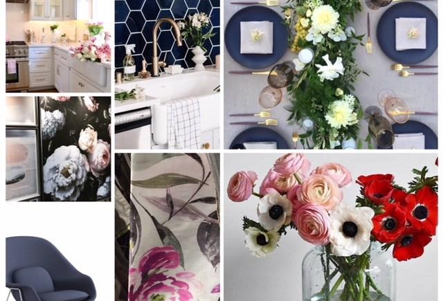 White Kitchen, Indigo Hex Backsplash, beautiful set Table, Oversized Floral Art, Red / Pink & White Ranunculus and Floral Fabric Inspiration