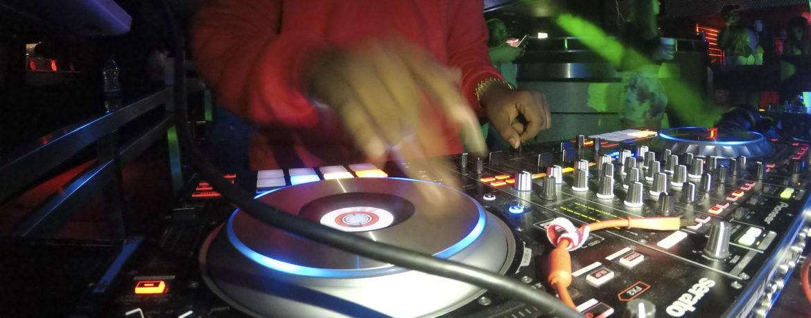 U.S. Air Force Staff Sgt. Elijah Rasheed, 100th Logistics Readiness Squadron aircraft parts store supervisor, also known as 'DJ Messiah', mixes music for his disc jockey set at a local club in Cambridge, England, Sept. 2, 2018. DJ Messiah is known as Staff Sgt. Rasheed to his troops and tries his best to relate to his troops both on a personal and professional level. (U.S. Air Force photo by Airman 1st Class Alexandria Lee)