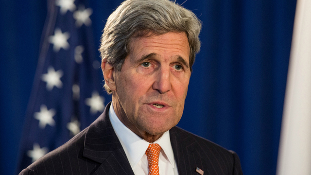 """NEW YORK, NY - APRIL 27: U.S. Secretary of State John Kerry attends a press conference announcing a reconfirmation and revision to the """"Guidelines for U.S.-Japan Defense Cooperation,"""" created by the U.S.-Japan Security Consultative Committee on April 27, 2015 in New York City. The last time the guidelines between the two countries were updated was in 1997. (Photo by Andrew Burton/Getty Images)"""